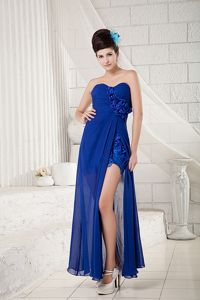 Appliques High Slit Flowers Royal Blue Aurora Prom Pageant Dresses