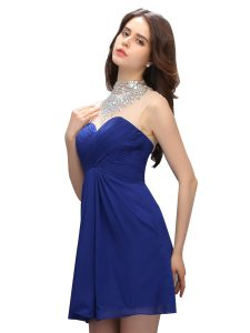 Royal Blue Pageant Dresses Prom and Party with Beading High-neck Sleeveless Backless