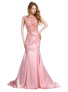 Best Selling Mermaid Baby Pink Winning Pageant Gowns Prom and Party with Beading Scoop Sleeveless Brush Train Backless