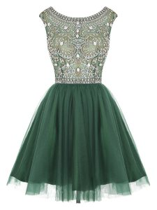 Peacock Green Scoop Zipper Beading and Appliques High School Pageant Dress Sleeveless