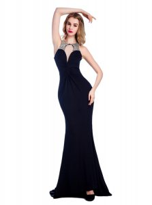 Black Silk Like Satin Criss Cross Pageant Dress for Womens Sleeveless Floor Length Beading