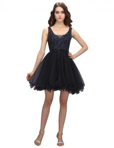 Amazing Black Sleeveless Mini Length Beading Criss Cross Glitz Pageant Dress