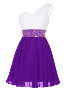 One Shoulder Sleeveless Zipper Pageant Dress for Womens White And Purple Chiffon