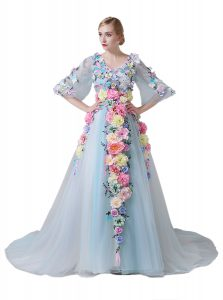 Tulle Half Sleeves With Train Pageant Dress for Teens Court Train and Hand Made Flower