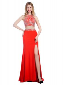 Flirting With Train Coral Red Pageant Dresses Chiffon Sweep Train Sleeveless Beading