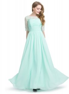 Noble Column/Sheath Pageant Gowns Turquoise Scoop Chiffon Half Sleeves Floor Length Lace Up