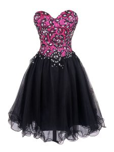 Customized Pink And Black Sleeveless Tulle Zipper Winning Pageant Gowns for Prom and Party