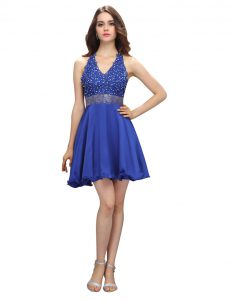 Flirting Royal Blue Criss Cross Pageant Dress Toddler Beading and Belt Sleeveless Mini Length