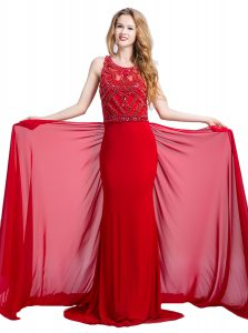 Scoop Silk Like Satin Sleeveless With Train Evening Gowns Court Train and Beading