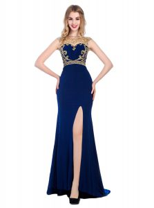 Wonderful Navy Blue Custom Made Pageant Dress Prom and Party with Beading and Appliques High-neck Sleeveless Sweep Train Zipper