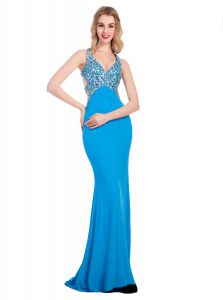 Column/Sheath Custom Made Pageant Dress Baby Blue V-neck Silk Like Satin Sleeveless With Train Clasp Handle