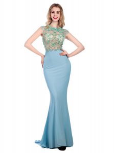 Scoop Light Blue Silk Like Satin Zipper Winning Pageant Gowns Sleeveless With Train Sweep Train Beading