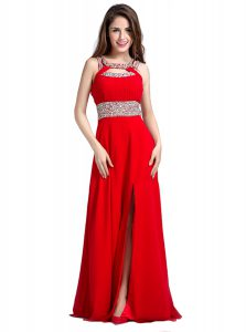 Sumptuous Red Square Neckline Beading Pageant Dress for Womens Sleeveless Zipper