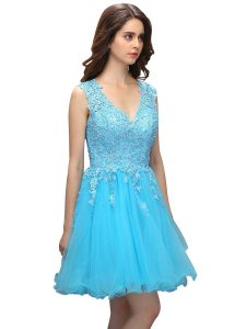 Luxurious Knee Length Backless Pageant Dress for Girls Baby Blue for Prom and Party with Beading and Appliques
