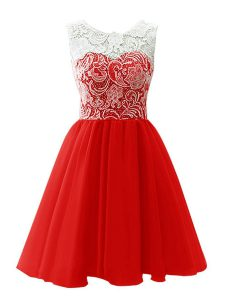 Sumptuous Scoop Sleeveless Mini Length Lace Clasp Handle Pageant Dress for Teens with Red