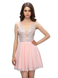 Latest Baby Pink High School Pageant Dress Prom and Party with Beading V-neck Sleeveless Zipper
