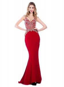 Mermaid Red Silk Like Satin Backless V-neck Sleeveless With Train Pageant Dress for Teens Brush Train Beading
