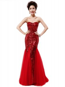 Mermaid Wine Red Sequined Zipper Pageant Gowns Sleeveless Sequins
