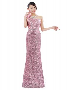 Artistic One Shoulder Pink Sleeveless Sequins Floor Length Pageant Dress Wholesale