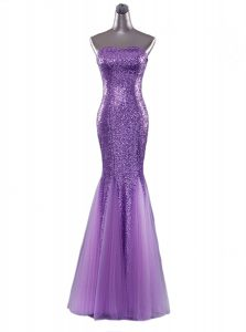 Mermaid Eggplant Purple Sequined Zipper Pageant Dress for Girls Sleeveless Floor Length Sequins