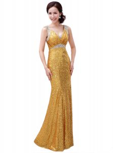 Fantastic Gold Pageant Dress for Teens Prom and Party with Sequins V-neck Sleeveless Zipper