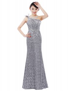 Hot Sale One Shoulder Silver Sleeveless Floor Length Sequins Zipper Winning Pageant Gowns