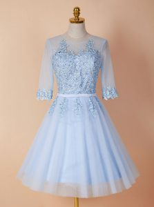 Exquisite Scoop Backless Organza Half Sleeves Knee Length Pageant Dress Toddler and Appliques
