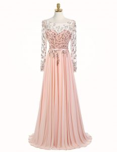 Amazing Peach Scoop Neckline Beading Pageant Dresses Long Sleeves Backless