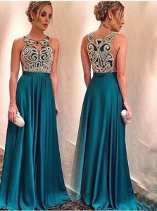 Delicate Scoop Teal A-line Appliques Pageant Dress Wholesale Zipper Satin Sleeveless Floor Length