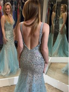 Mermaid Backless Multi-color Sleeveless Beading Floor Length Pageant Dress Womens