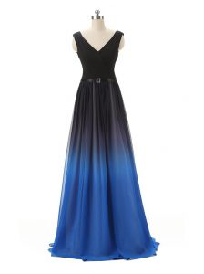 Blue And Black Sleeveless Belt Floor Length High School Pageant Dress