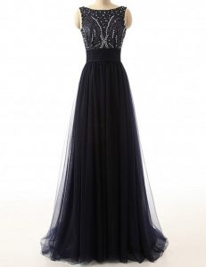 Exquisite Sleeveless With Train Beading Backless Pageant Dress Womens with Black Sweep Train