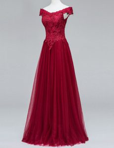 Designer Wine Red A-line Lace High School Pageant Dress Zipper Tulle Short Sleeves Floor Length