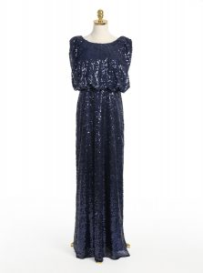 Exceptional Scoop Floor Length Navy Blue Pageant Dress Wholesale Sequined Sleeveless Sequins