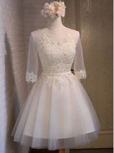 Scoop Mini Length A-line Half Sleeves White Pageant Dress Womens Lace Up