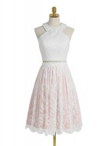 Popular Pink And White Lace Zipper Halter Top Sleeveless Knee Length Pageant Dress Beading