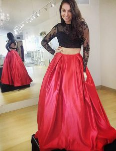 Wonderful Backless Satin Long Sleeves Floor Length Pageant Dress Wholesale and Lace