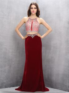 Fantastic Scoop Sleeveless Sweep Train Criss Cross Pageant Dress Wholesale Burgundy Silk Like Satin