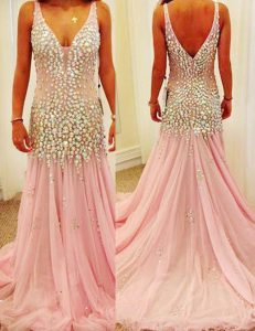 Most Popular Mermaid Sleeveless Pink Pageant Gowns Court Train Zipper