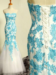 Mermaid Blue and Blue And White Sweetheart Lace Up Appliques High School Pageant Dress Sleeveless