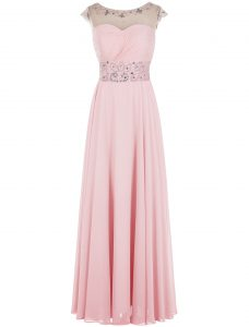 Scoop Floor Length Zipper High School Pageant Dress Baby Pink for Prom and Party with Beading