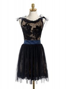 Modest Black Scoop Neckline Lace and Belt Pageant Dress Sleeveless Backless