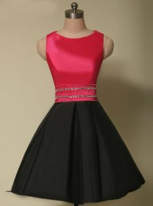 Scoop Sleeveless Lace Up Pageant Dress for Teens Red And Black Satin