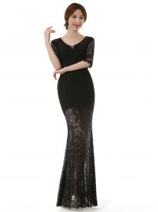Great Lace Ankle Length Black Pageant Dress Toddler Scoop Half Sleeves Zipper