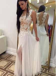 Scoop White Zipper Pageant Dress for Teens Appliques Sleeveless Floor Length