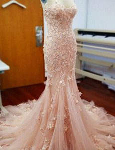 Fitting Mermaid Baby Pink High School Pageant Dress Prom and Party with Appliques Sweetheart Sleeveless Chapel Train Zipper