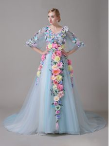 Hand Made Flower Custom Made Pageant Dress Blue Zipper Half Sleeves With Train Court Train