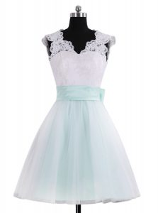Stylish Blue And White V-neck Zipper Lace and Sashes ribbons Pageant Gowns Sleeveless