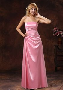 Ruched Rose Pink Strapless Youth Pageant Dresses in Bridgeport