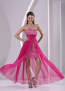 High-low Paillette Sequin Hot Pink Pageant Dresses in Fort Collins